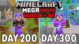 I Survived 300 Days in Mega Ultra Hardcore Minecraft... Minecraft Hardcore 100 Days