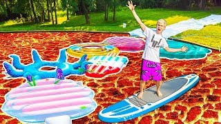 POOL IS LAVA CHALLENGE!! (IN OUR BACKYARD POND)