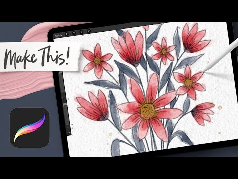 Watercolor Line Art Bouquet in Procreate