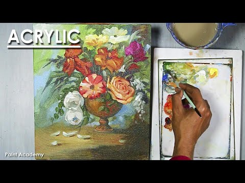 Acrylic painting Flower vase | step by step