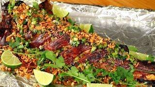 CA NUONG DA DON   Vietnamese Roasted Catfish Recipe   Cá Nướng Da Giòn