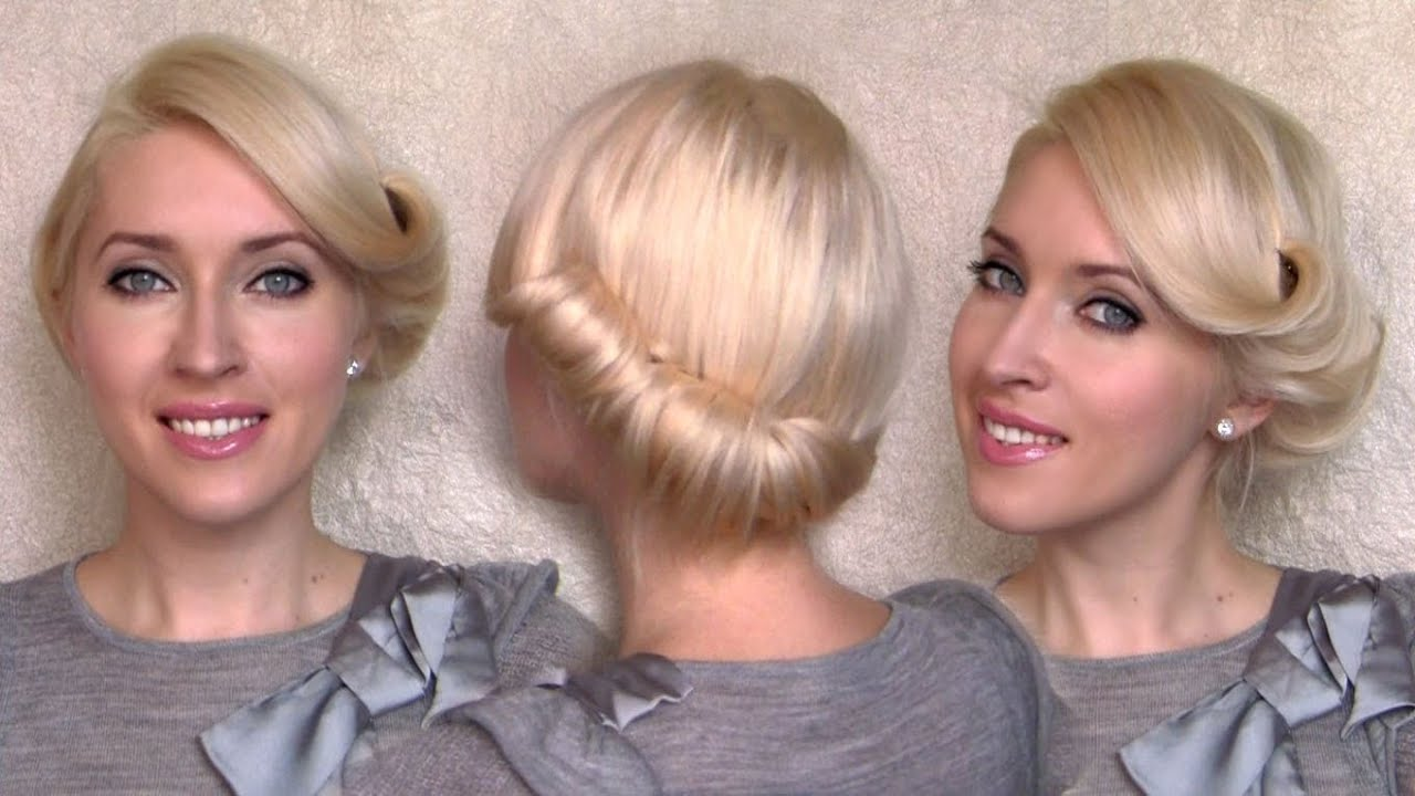 Side Swept Rolled Updo Hairstyle For Medium Short Hair