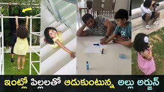 Tollywood stylish star Allu Arjun plays with Ayaan, Arha, ..
