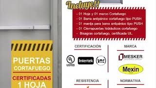 Puertas Cortafuego Certificadas UL, W-HI, Intertek - 1 hoja