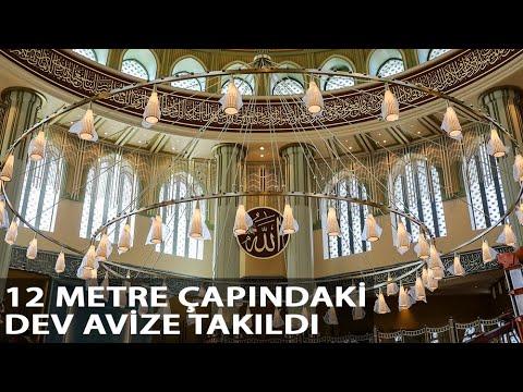 Taksim'de Yapımı Devam Eden Caminin Dev Avizesi İle Kapısının Kasası Takıldı