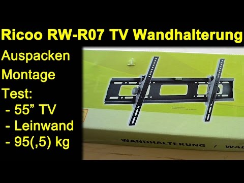 ricoo rw r07 tv wandhalterung auspacken montage review test mit tv leinwand monitor max belastung. Black Bedroom Furniture Sets. Home Design Ideas