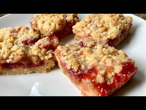 Strawberry Rhubarb Crumble Bars Recipe