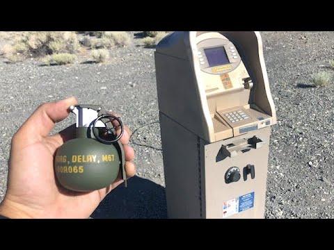 Throwing a grenade inside an ATM machine