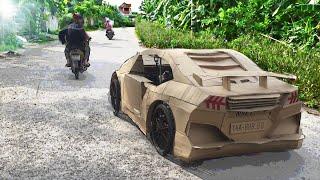 Lamborghini chế từ bìa giấy chạy ngoài đường 😂 (homemade lamborghini runs off the street)