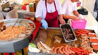 Slavic Street Food. Huge Load of Mixed Meat on Grill and Stuffed