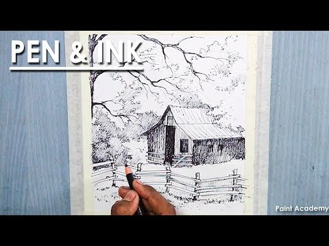 Pen & Ink shading | How to Draw A House Landscape
