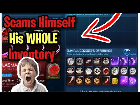 Little Kid Scams Himself His WHOLE Inventory! (Scammer Gets Scammed) Rocket League