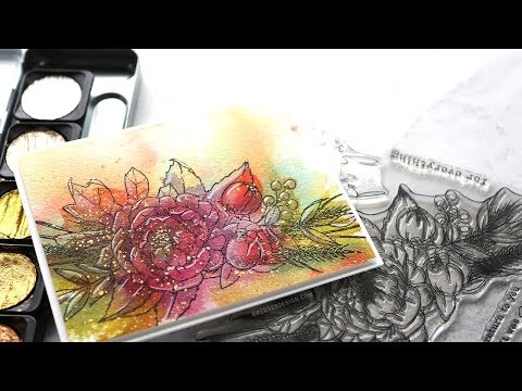 Loose Watercolor Underpainting + Stamping (inspired by creationsceecee)