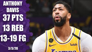 Anthony Davis goes off for 37 points in Lakers vs. 76ers | 2019-20 NBA Highlights