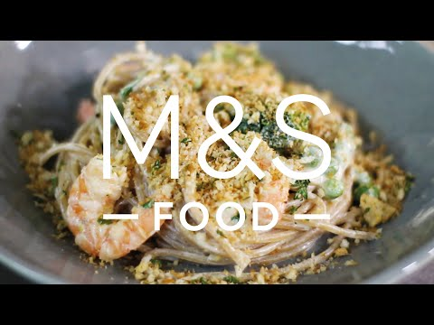 marksandspencer.com & Marks and Spencer Promo Code video: Chris' crunchy creamy garlic prawn pasta | M&S FOOD