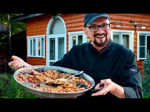 Паэлья с морепродуктами по рецепту Аси и Зульфии! Сталик Ханкишиев, РенТВ 2021 дачная кухня на огне!