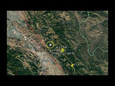 Two Small Earthquakes Shake California Bay Area, Morgan Hill M 3.7, M3.6