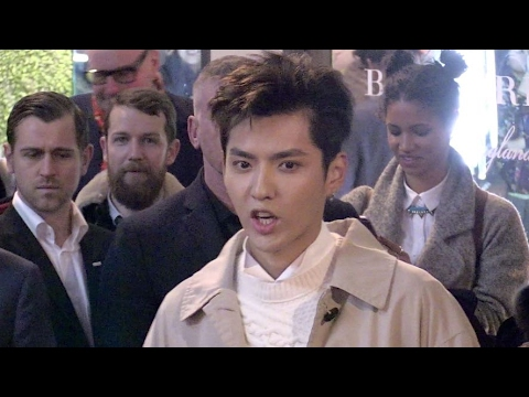 Kris Wu drives the crowd crazy at the 2017 Burberry fashion show in London