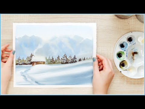 Practice Painting a Watercolor Winter Landscape with me!