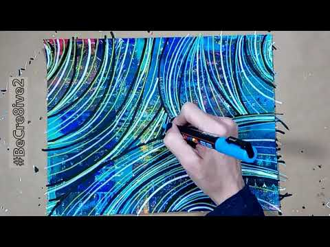 Drawing an Abstract with Posca Pens on Painted Paper
