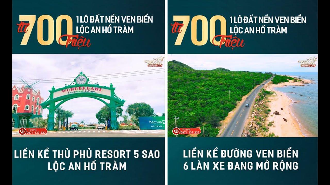 Đất nền sổ đỏ, thổ cư sát nách sân bay Hồ Tràm, chỉ từ 800tr- 950tr/140m2. Liên hệ 0971.137.222 video