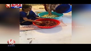 Minister Sabitha Indra Reddy prepares Mango pickle..