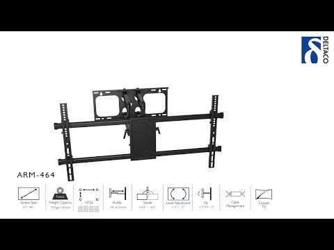 DELTACO Väggfäste för TV/Skärm, flat och böjd - ARM-464