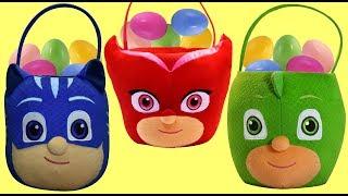 PJ MASKS Easter Baskets FULL of Eggs and Toy Surprises, Owlette Catboy Gekko