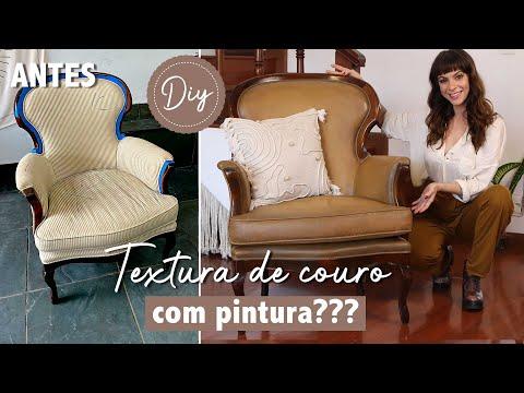 """DIY Transforme Tecido em """"Couro"""" com pintura? WHAAAT? p/ Repaginar móveis estofados!"""