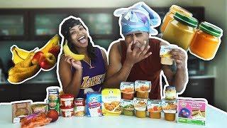 BABY FOOD vs ADULT FOOD CHALLENGE!!! (VOMIT ALERT)