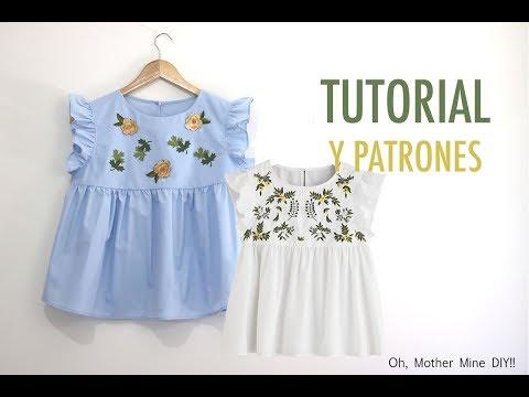 Costura de ropa para mujer: Blusa bordada (patrones gratis)
