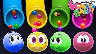 Learn Colors with Colorful Balls Videos for Kids | Squishy Wonderballs Full Episodes Magical Slides