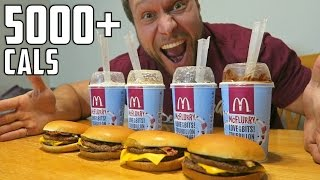 McDonald's Burger McFlurry Eating Challenge (5,000+ Calories)