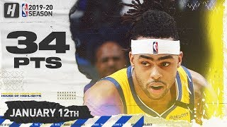 D'Angelo Russell  34 Points Full Highlights | Warriors vs Grizzlies | January 12, 2020