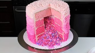 How To Make A Pink Ruffle Pinata Cake | CHELSWEETS