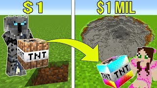 Minecraft: 1 DOLLAR TNT VS 1,000,000 DOLLAR RAINBOW TNT!!! Crafting Mini-Game