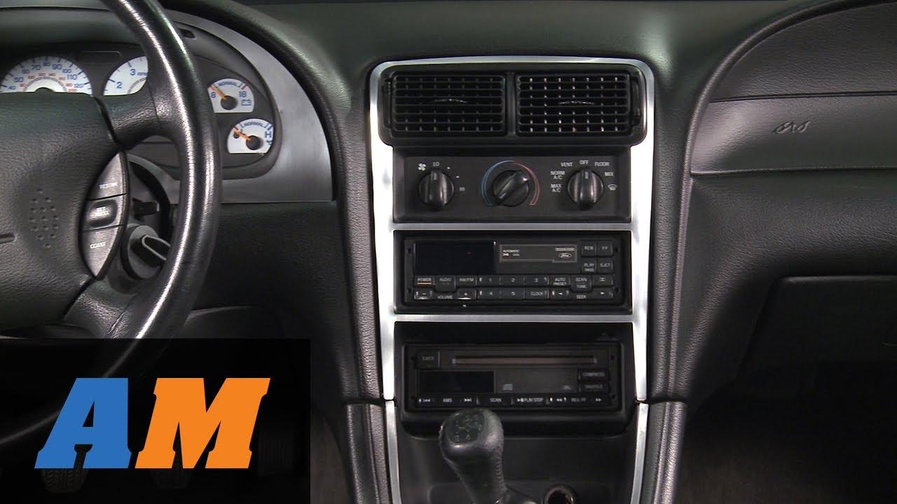 Mustang Brushed Aluminum Carbon Fiber Dash Overlay Kit 94