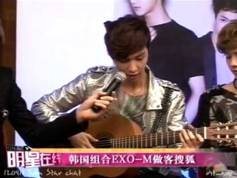 120411 EXO-M Lay playing the guitar while singing