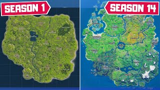 Evolution of The Entire Fortnite Map! (Chapter 1 Season 1 - Chapter 2 Season 4)