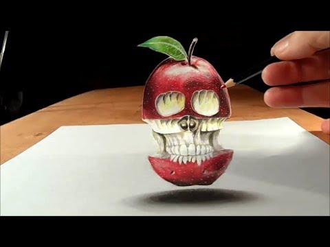 Baixar Trick Art, Drawing  Levitating 3D Apple Skull, Time Lapse