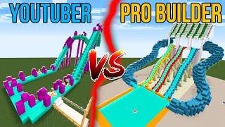 Youtuber vs. Pro Builder - WATER SLIDES! | Minecraft