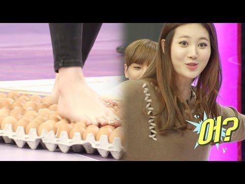 유라, 걸그룹 최초 달걀판 위 걷기 성공 @스타킹 20151201