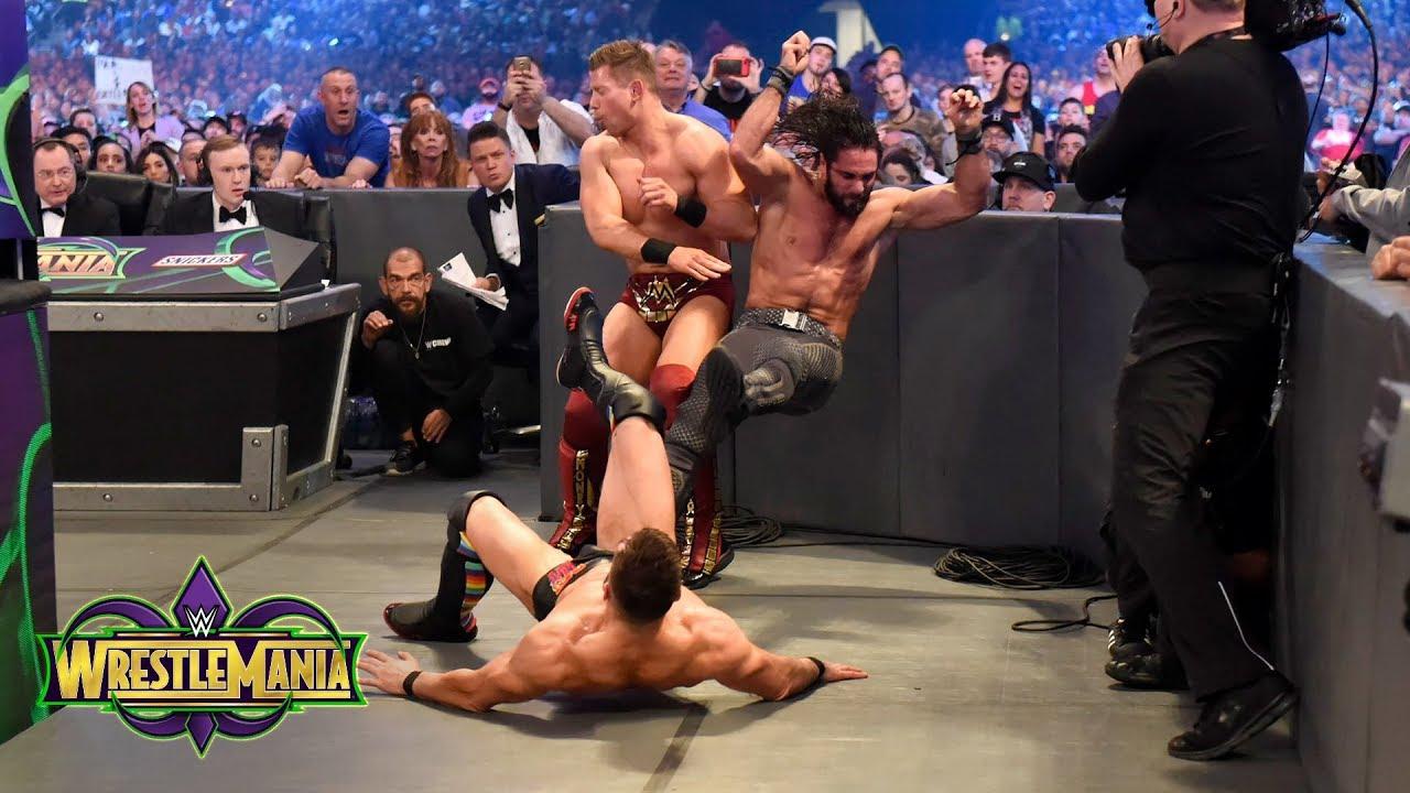 Wrestlemania 34 Finn Balor Vs Seth Rollins Vs The Miz