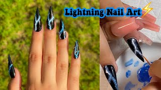 DIY LIGHTNING NAIL ART! | Polygel Nail Tutorial For Beginners