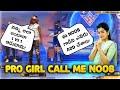 Random pro girl call me noob || we play 1 vs 1 free fire in Telugu