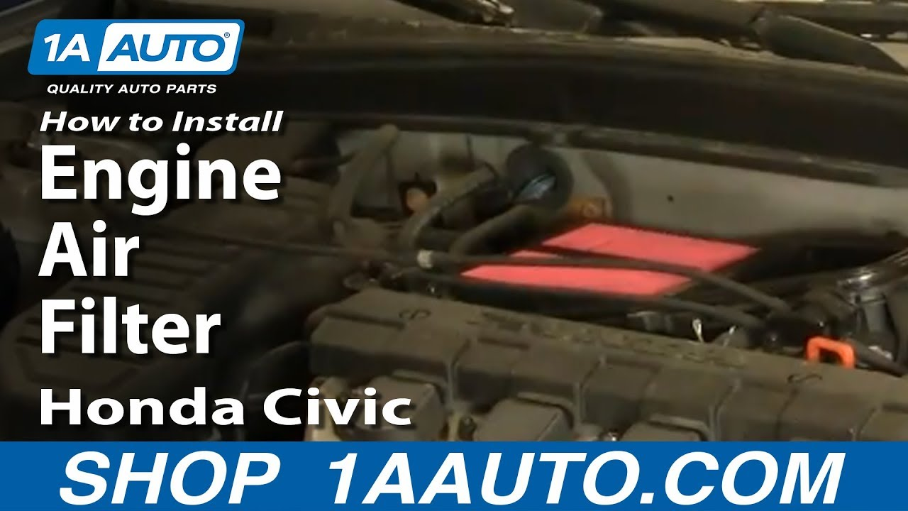 how to install replace engine air filter honda civic 1 7l 01 05 youtube. Black Bedroom Furniture Sets. Home Design Ideas