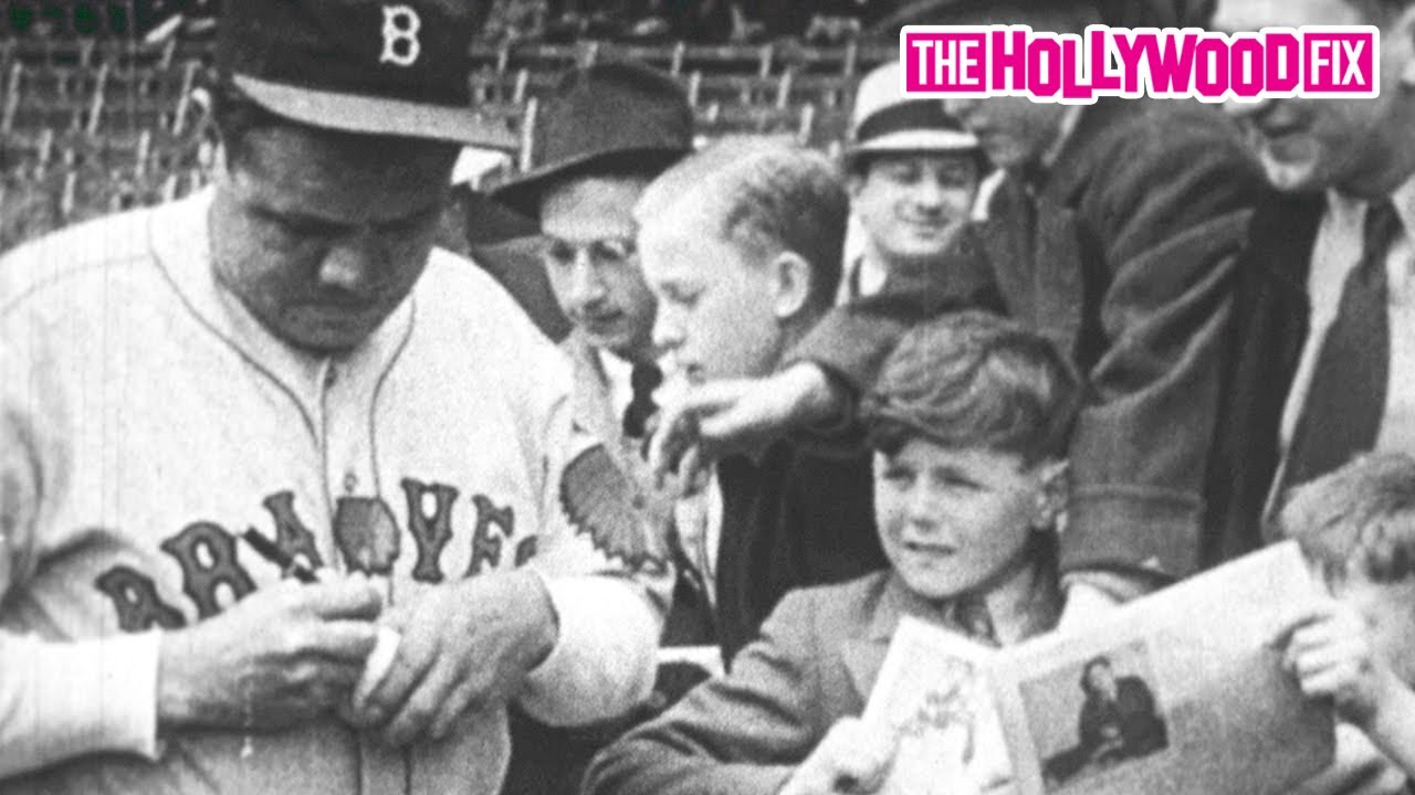 Babe Ruth Signs Autographs For Kids Near The End Of His Career As Outfielder For The Boston Braves