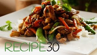 Chicken Thai stir fry with cashews and sugar snap peas