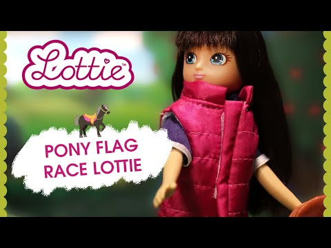 Pony Flag Race Lottie doll and Seren the Welsh Mountain Pony