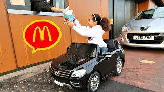 McDonalds Drive Thru Prank!! Power Wheels Ride On Car Pretend Play